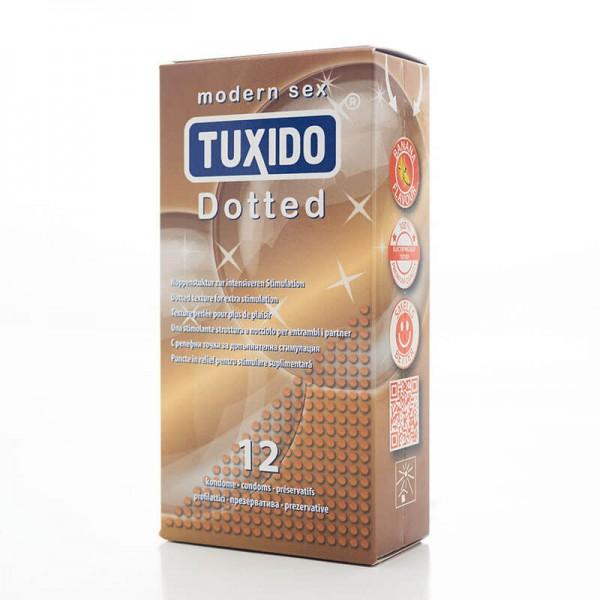 Кутия 12 броя релефни презервативи Dotted Tuxido
