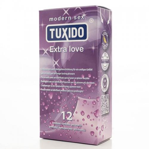 Кутия 12 броя презервативи Extra Love Tuxido със задържащ ефект