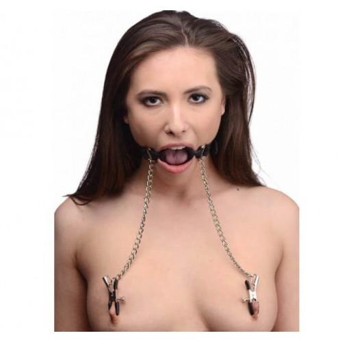 Фетиш акесоар Ринг за уста с щипки за зърна O-ring Gag with Nipple Clamps